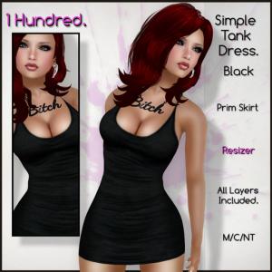 1 Hundred. Simple Tank Dress. Black